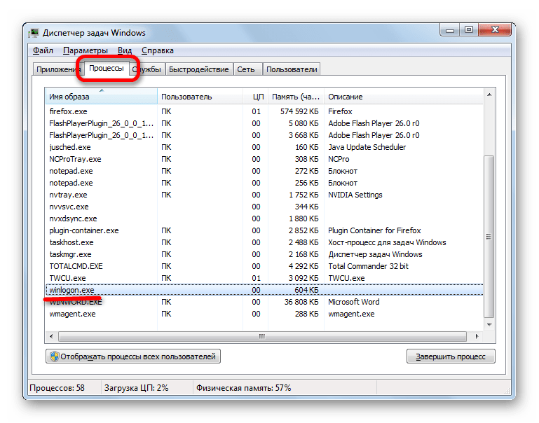 Процесс WINLOGON.EXE в Диспетчере задач Windows