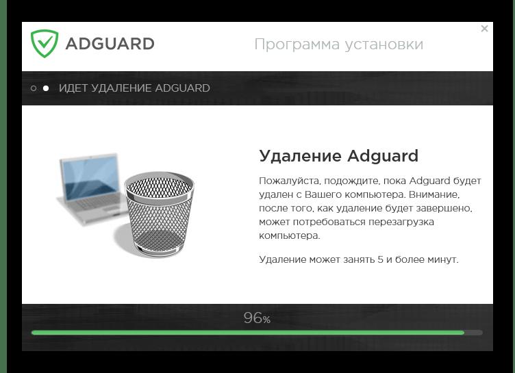 Процесс удаления Adguard с компьютера