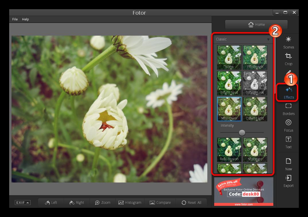 Список эффектов для фотографии в программе Fotor