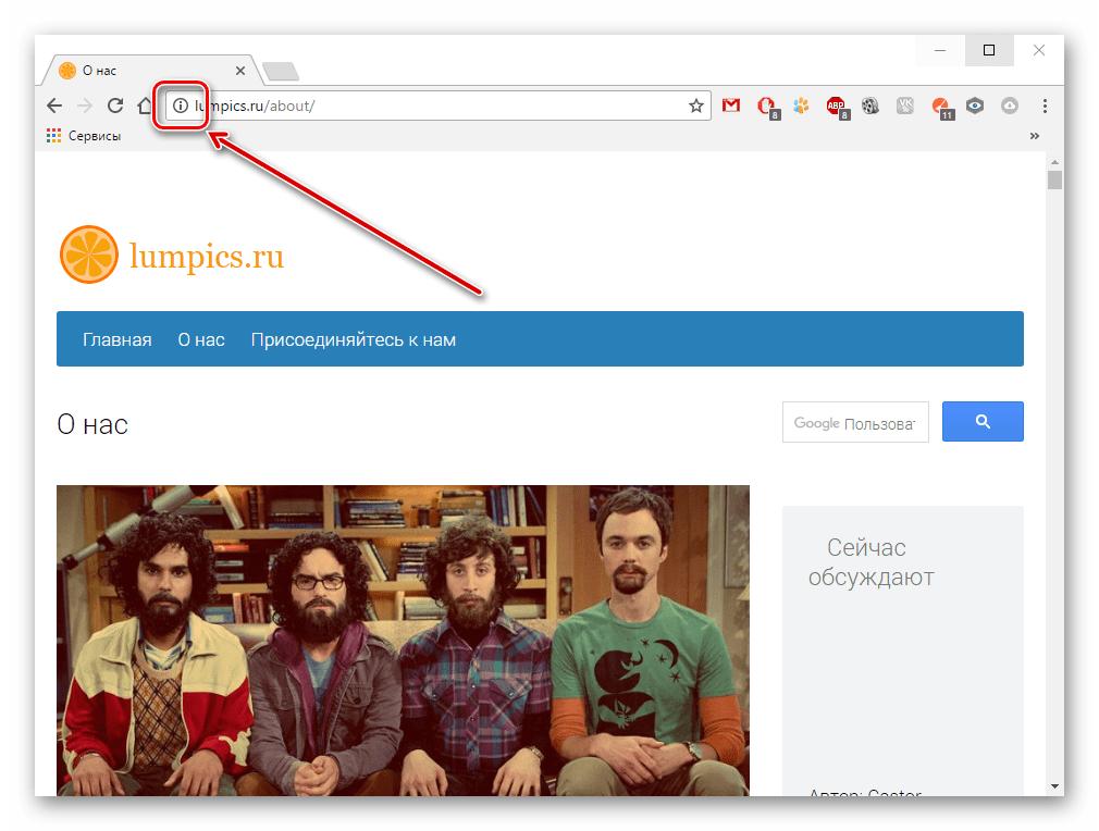 Сведения о сайте в Google Chrome