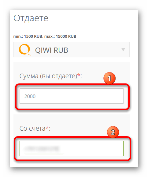 Ввод данных пользователя кошелька QIWI