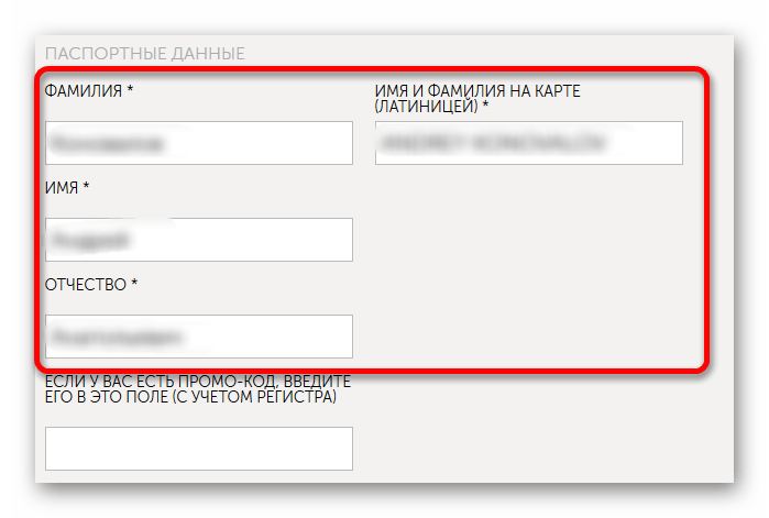 Ввод данных владельца карты Киви