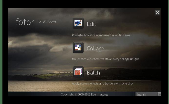 Выбор режима работы в программе Fotor