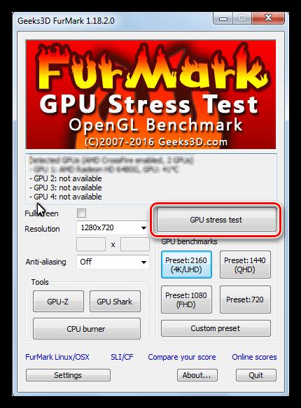 Запуск стресс-теста графического процессора в программе Furmark