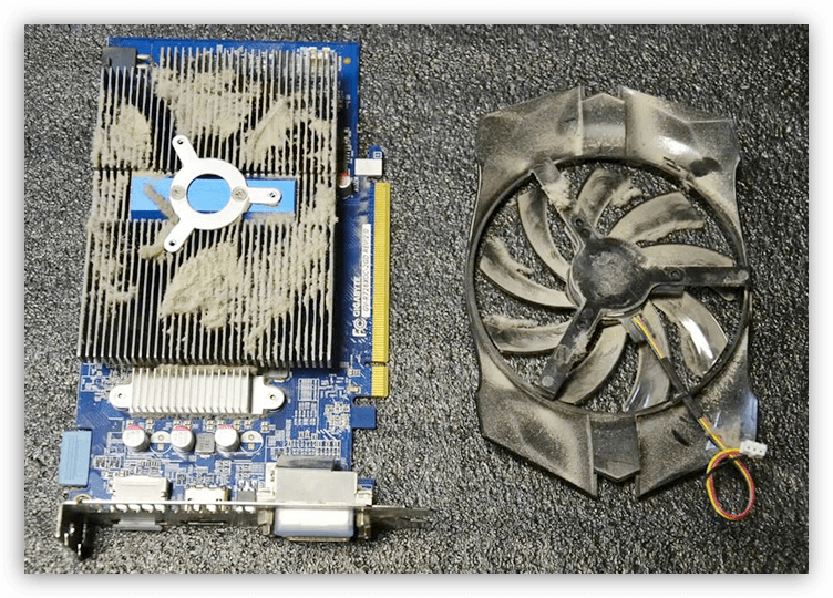 Засорение пылью системы охлаждения видеокарты в компьютере