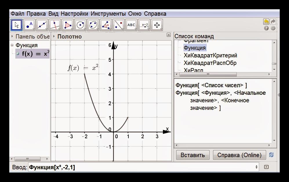 График функции GeoGebra