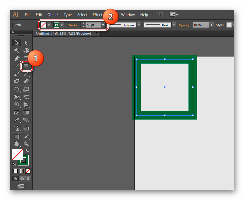 Квадрат в Illustrator