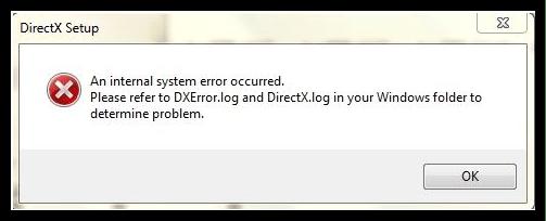 Диалоговое окно сообщающее об ошибке DirectX Setup Error An internal error occurred