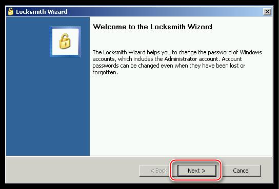 Главное окно утилиты Locksmith в программе ERD Commander для сброса пароля учетной записи в операционной системе Windows XP