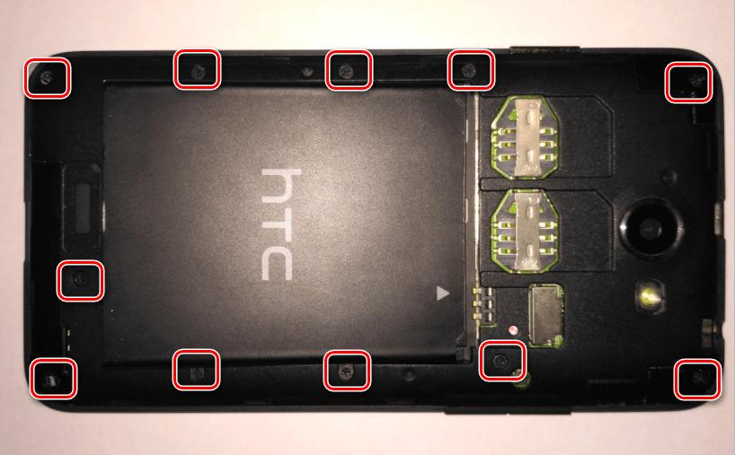 HTC Desire 516 Dual Sim снятие задней крышки 11 винтов