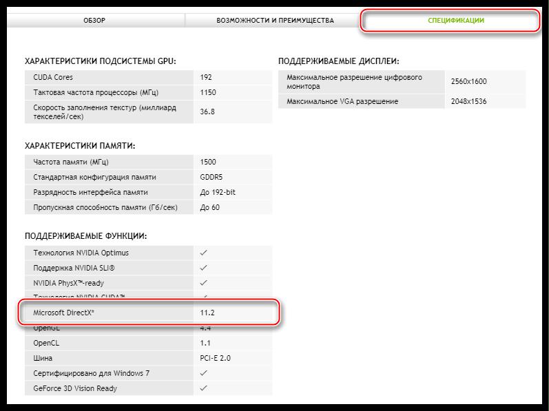 Информация о максимальной поддерживаемой видеокартой версии библиотеки DirectX на официальном сайте NVIDIA