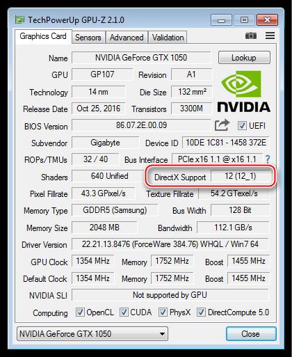 Информация о максимальной поддерживаемой видеокартой версии библиотеки DirectX в программе GPU-Z
