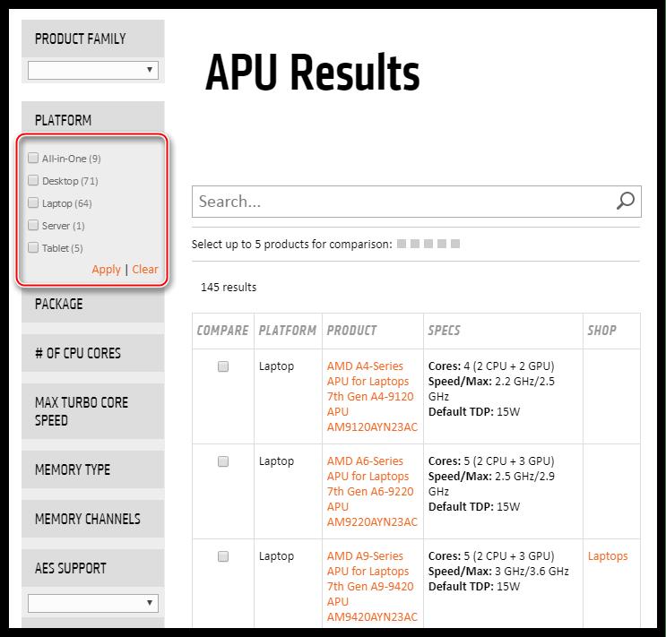 Информация о максимальной поддерживаемой встроенной видеокартой версии библиотеки DirectX на официальном сайте AMD