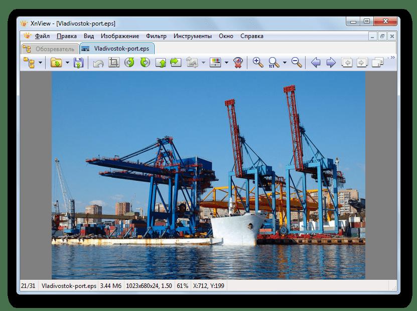 Изображение в формате EPS открыто в приложении XnView