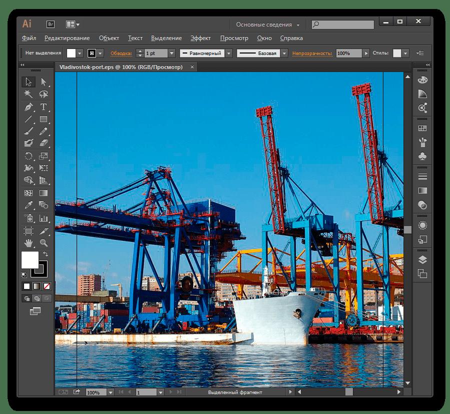 Изображение в формате EPS открыто в программе Adobe Illustrator
