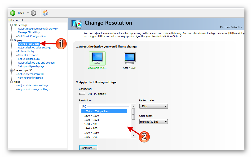 Настройка разрешения экрана с помощью фирменной программы NVIDIA