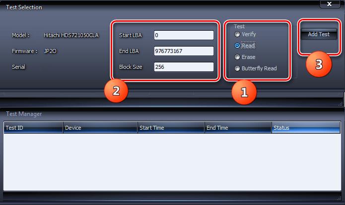 Настройки тестирования жесткого диска на ошибки в программе HDDScan