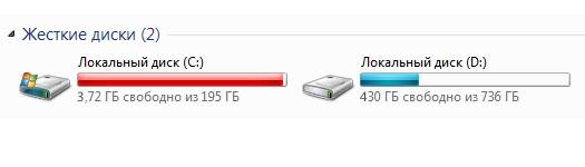 Нехватка свободного места на системном диске
