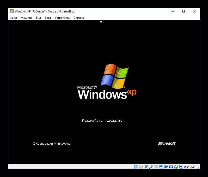 Новый этап установки Windows XP в VirtualBox