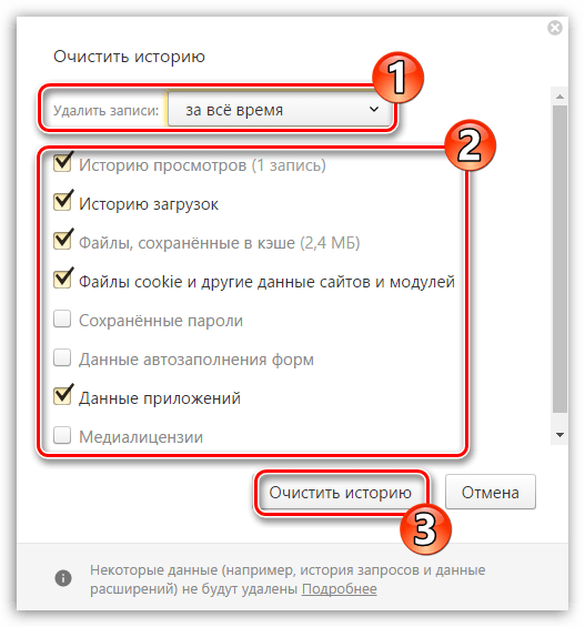 Очистка накопленных данных в Яндекс.Браузере