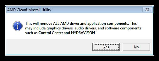 Окно предупреждения об удалении всех компонентов и драйверов в программе AMD Clean Uninstall