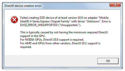 Ошибка DirectX device creation error в играх Battlefield 3 и Need for speed The Run