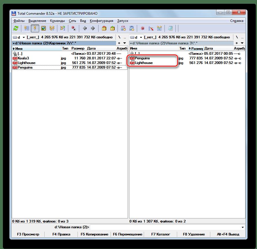 Отдельные файлы извлечены из архива 7z в программе Total Commander