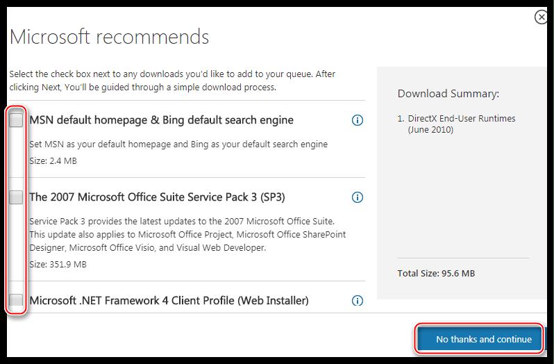Отказ от загрузки дополнительного программного обеспечения на странице скачивания полной версии среды DirectX для конечного пользователя