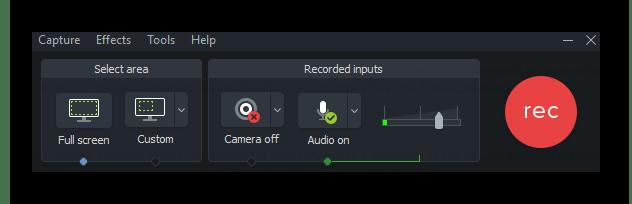 Панель записи видео в Camtasia Studio