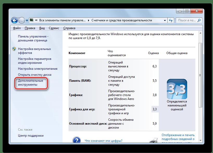 Переход в окно дополнительных интрументов в окне Счетчики и средства производительности в разделе Система в Панели управления в Windows 7
