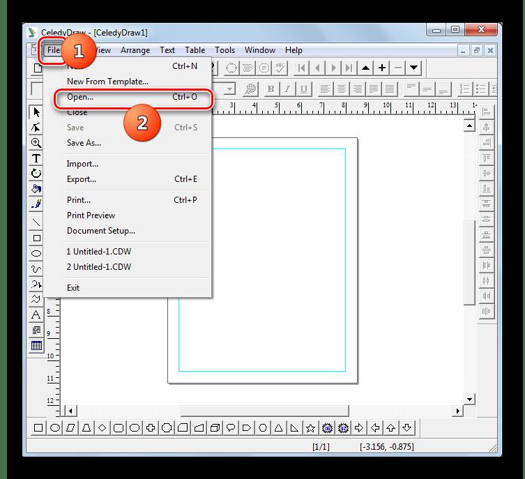 Переход в окно открытия файла через верхнее горизонтальное меню в программе CeledyDraw