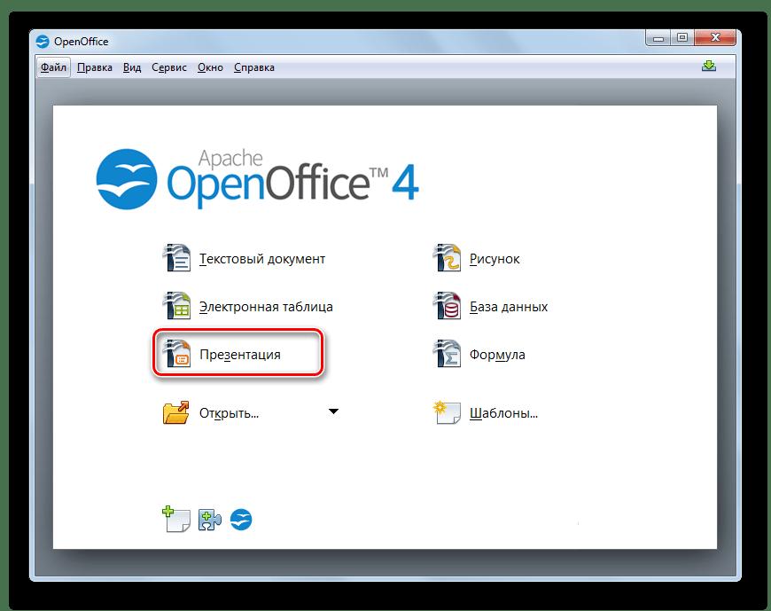 Переход в окно приложения OpenOffice Impress из главного окна программы OpenOffice