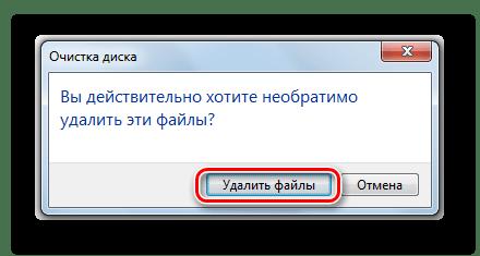 Подтверждение удаления файлов в процессе очистки диска C в Windows 7