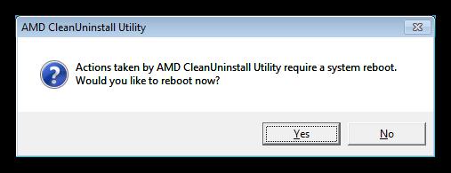 Предложение перезапуска операционной системы после удаления драйверов утилитой AMD Clean Uninstall