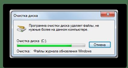 Процедура удаления файлов обновления в процессе очистки диска C в Windows 7