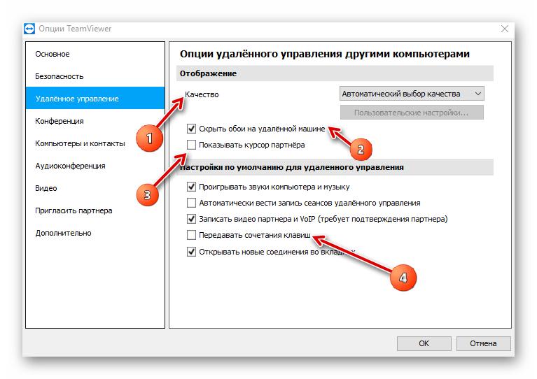 Раздел удаленное управление в настройках TeamViewer