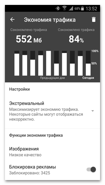 Режим экономии Opera Mini