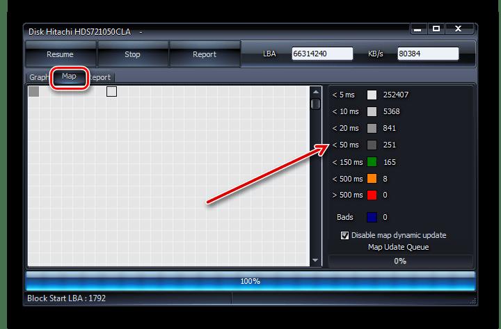 Результаты тестирования жесткого диска на ошибки в программе HDDScan