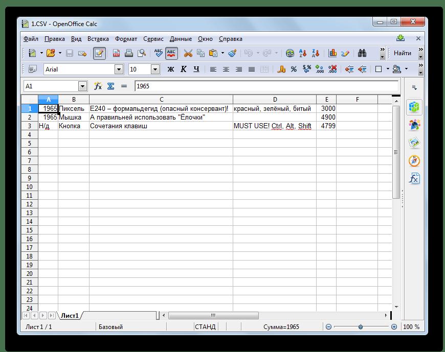 Содержимое файла CSV отображено на листе в программе OpenOffice Calc