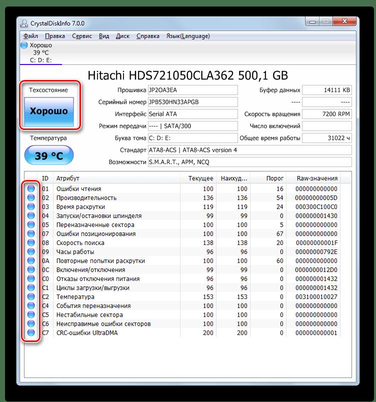 Состояние диска в программе CrystalDiskInfo