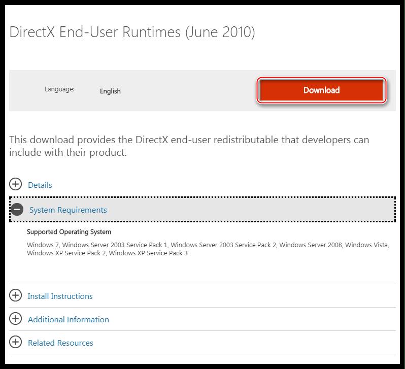 Страница загрузки полной версии установщика среды DirectX для конечного пользователя на официальном сайте Microsoft