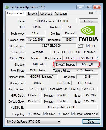 Свeдения о максимальной версии пакета DirectX поддерживающейся графическим адаптером в программе GPU-Z