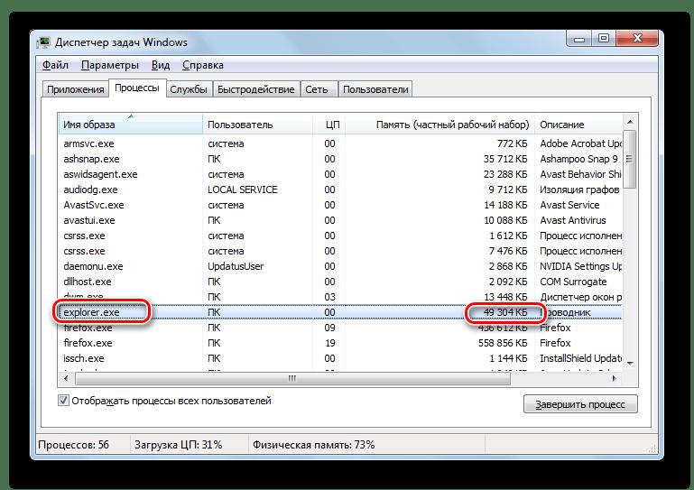 Величина оперативной памяти занимаемая процессом Explorer.exe в Диспетчере задач Windows 7