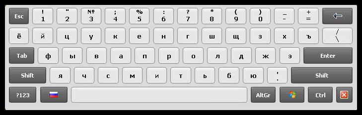 Внешний вид экранной клавиатуры Hot Virtual Keyboard в операционной системе Windows XP