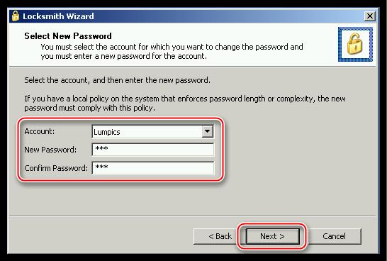 Ввод и подтверждение нового пароля учетной записи в программе ERD Commander в операционной системе Windows XP