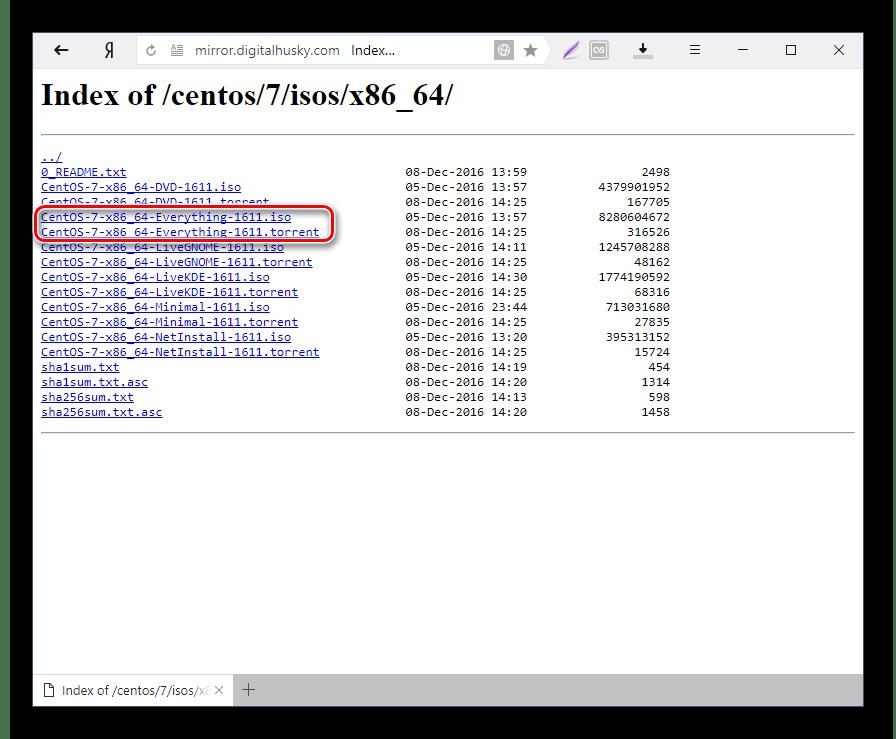 Выбор файла для скачивания torrent CentOS