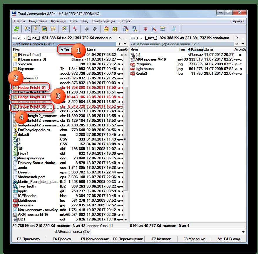 Выделение отдельных файлов в программе Total Commander