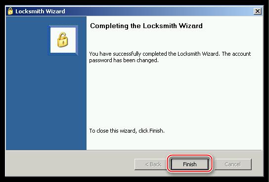 Завершение работы программы ERD Commander после сброса пароля учетной записи в операционной системе Windows XP