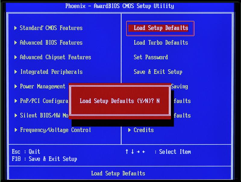 Сброс настроек в BIOS