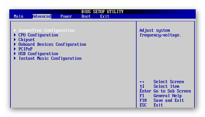 Advanced в AMI-BIOS
